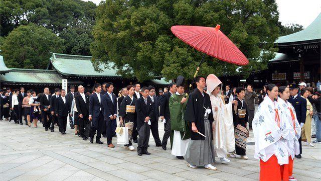 A traditional Japanese Shinto wedding