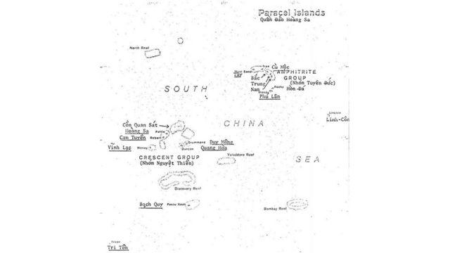 Bản đồ quần đảo Hoàng Sa trong một báo cáo của CIA tháng Ba 1974