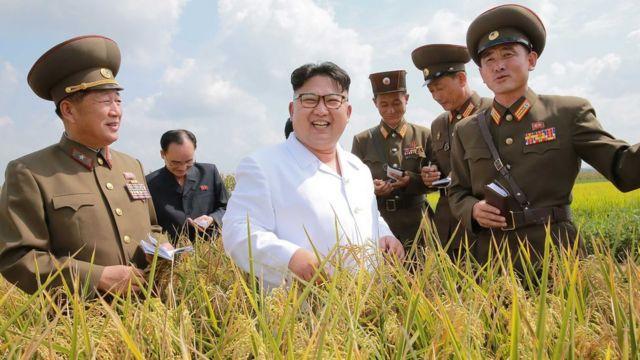 Kim Jong-un con sus asesores en una visita al campo