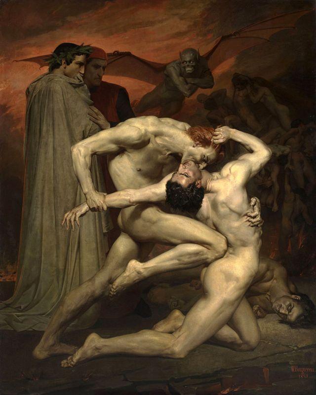 Dante y Virgilio en el infierno. Artista: Bouguereau, William-Adolphe (1825-1905)