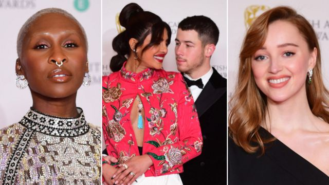 Left-right: Cynthia Erivo, Priyanka Chopra Jonas, Nick Jonas and Phoebe Dynevor on the Bafta red carpet