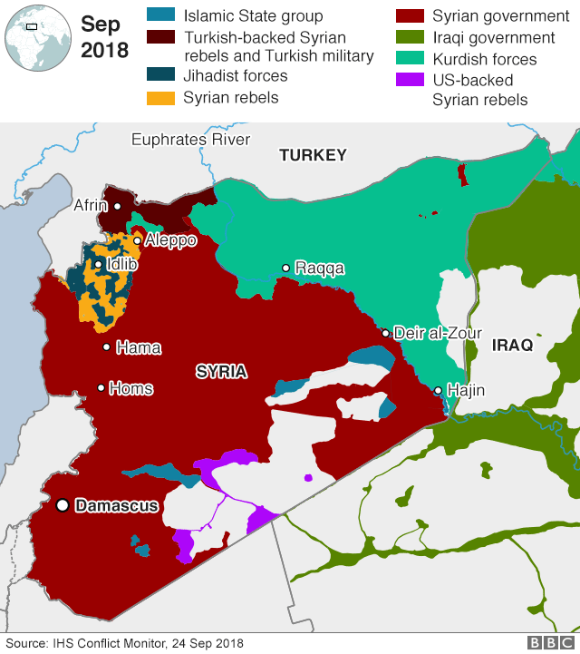 Map showing control of Syria and western Iraq (24 September 2018)