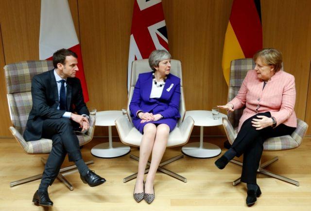 Macron, Merkel y May