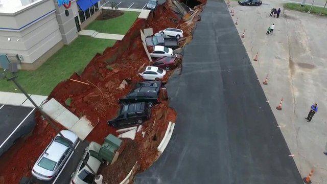 Sinkhole in Mississippi in America.