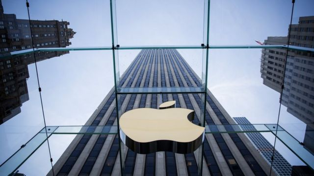 The Apple logo is displayed at the Apple Store