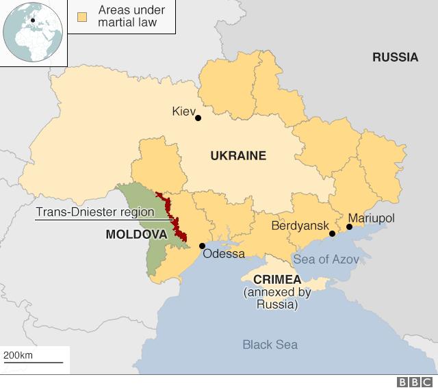 Areas of Ukraine under martial law
