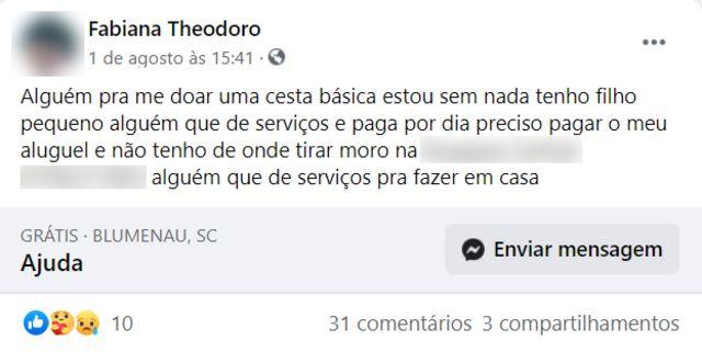 Pedido de doação de Fabiana no Facebook