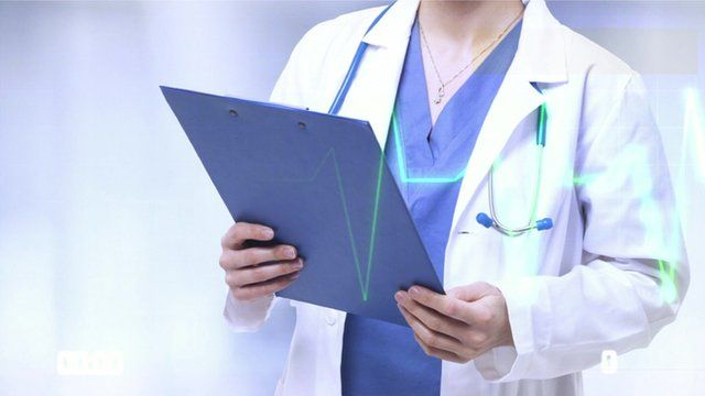 Doctor with clipboard graphic