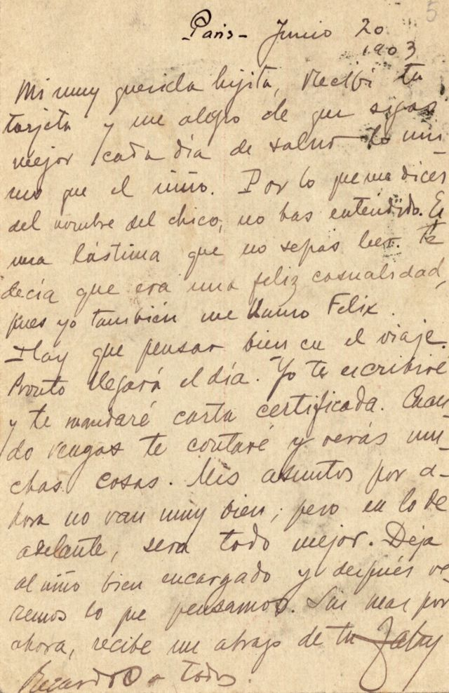 Carta de Rubén Darío a Francisca Sánchez