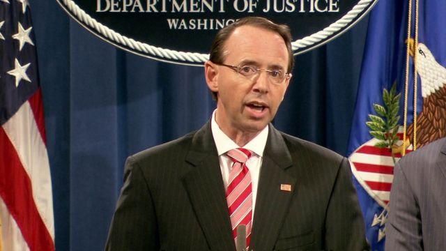 Açıklamayı yapan ABD Adalet Bakanı Yardımcısı Rod Rosenstein