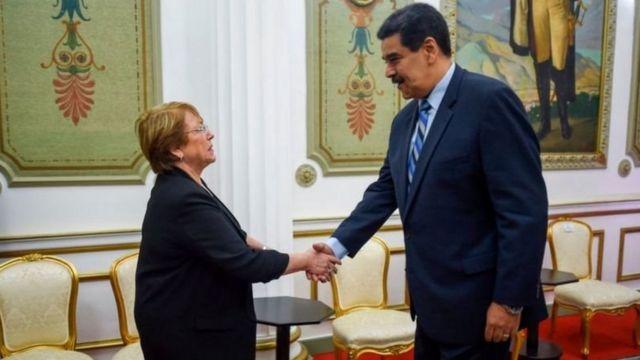 Michellet Bachelet with Nicolas Maduro