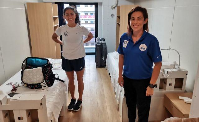 Las deportistas salvadoreñas Argentina Solórzano y Celina Márquez.