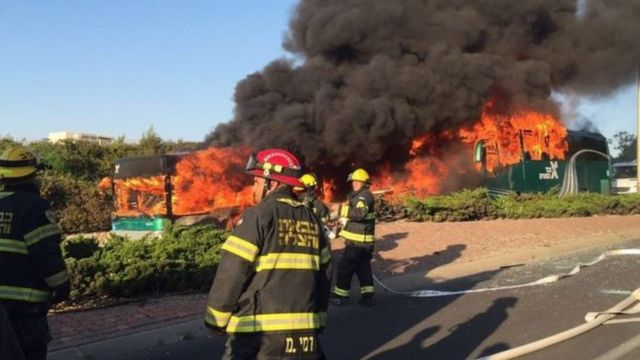 Photographs showed two buses on fire at the scene in Jerusalem