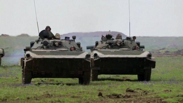 """Rusia habia dicho que las tropas estaban en """"ejercicios militares"""" en la zona."""