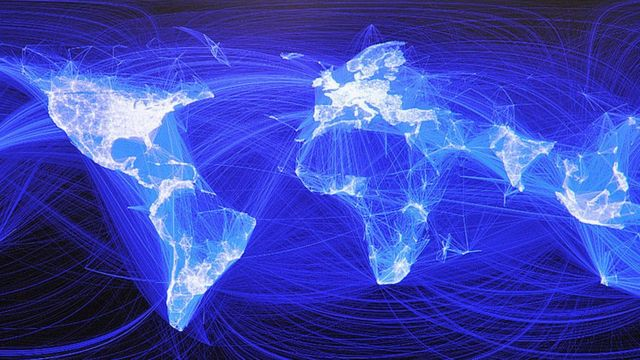 Mapa del mundo y sus conexiones a Internet.