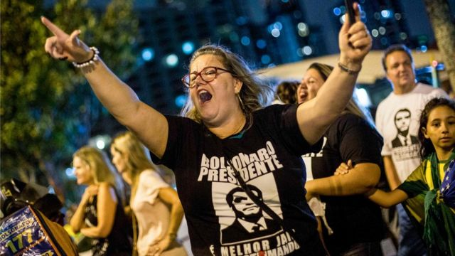 Manifestante pró-Bolsonaro