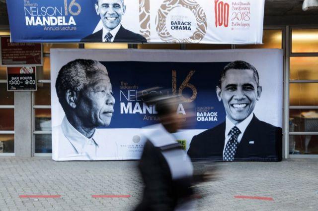Picha za Obama na Mandela