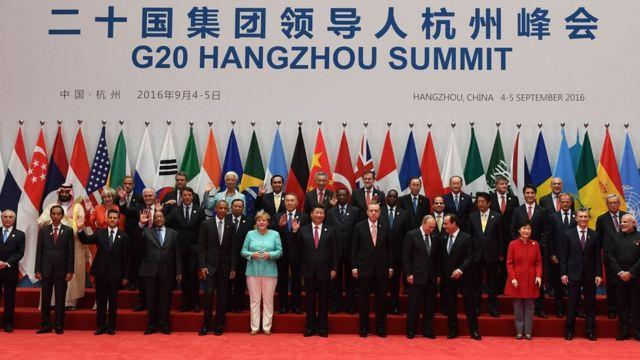 Foto grupal de líderes del G20 en Hangzhou, China.