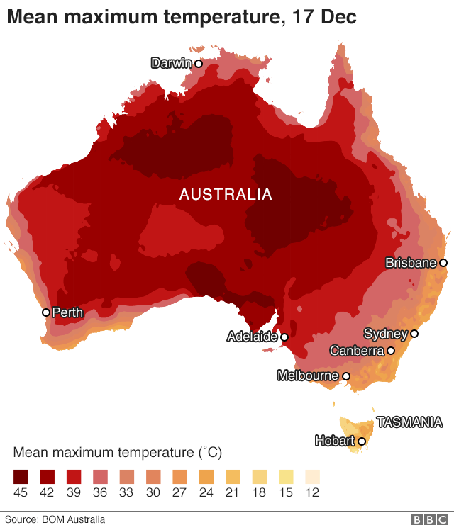 Mean maximum temperatures across Australia, 17 Dec