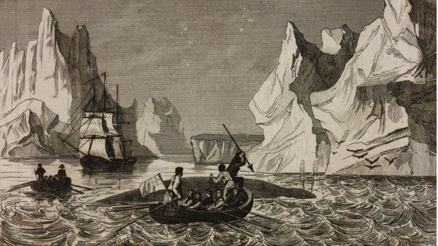 Ilustração mostra homens em barcos, no mar, representando uma caça a baleias em 1840