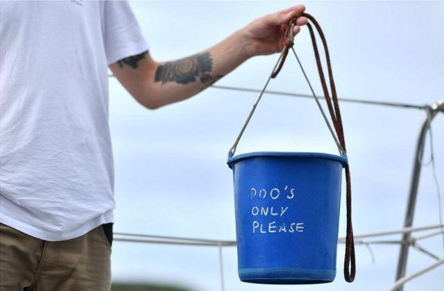 Blue plastic poo bucket