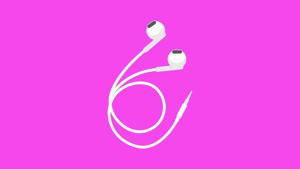 Ilustração de fone de ouvido branco com fundo rosa choque