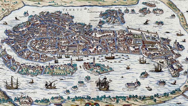 Mapa antigo de Veneza