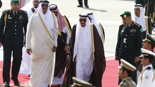 Emir of Qatar during a visit to Saudi Arabia last month