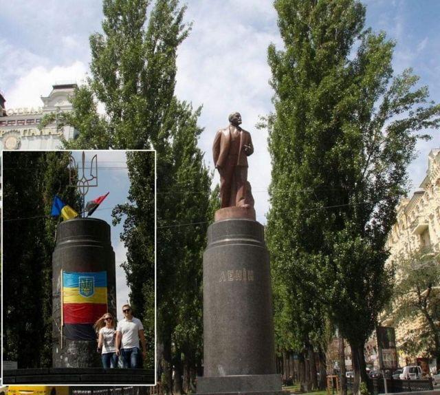 Tượng đài lenin tại trung tâm thủ đô Kiev (Ukraine) và sau khi bị giật đổ trong phong trào Maidan 2014. Giờ chỉ còn phần bệ (ảnh nhỏ)