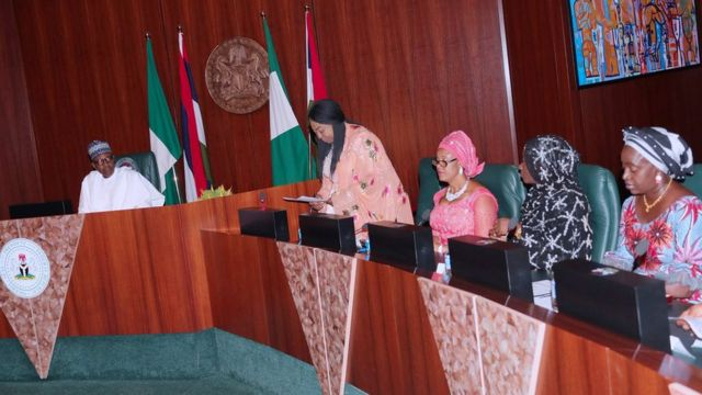President Muhammadu Buhari wen e dey meet Conference of Nigerian Female Parliamentarians iside Aso Rock on May 25, 2018