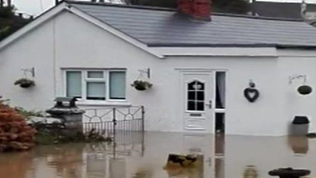 Flooding in the village of Boverton