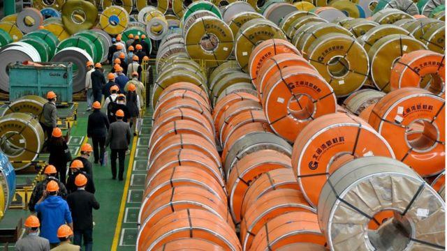 Una planta de acero en China