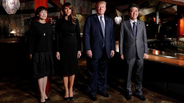 安倍夫婦與特朗普夫婦在東京銀座うかい亭合照(5/11/2017)