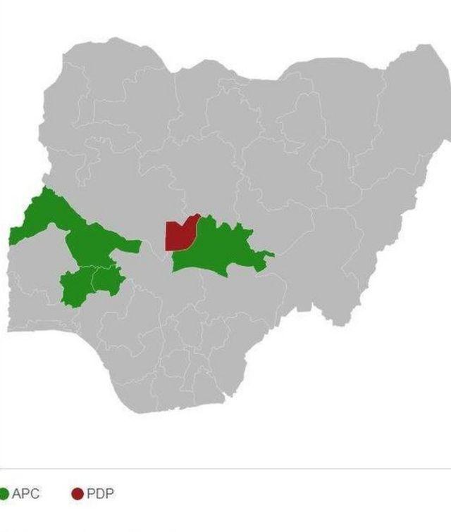 En vert, la proportion de votes en faveur de Muhammadu Buhari, en rouge les votes pour Atiku Abubakar.