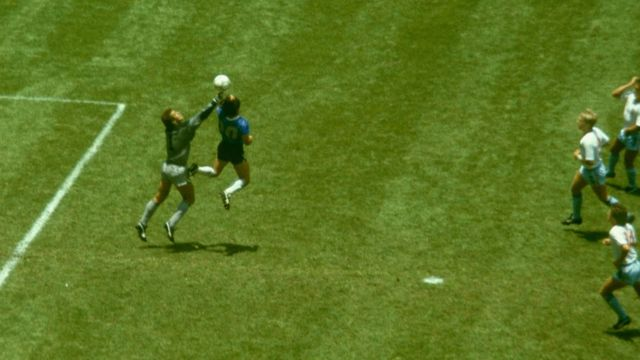 Maradona during the goal known as