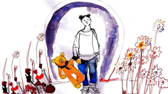 Ilustración de una niña con su osito