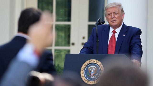 特朗普於華盛頓白宮玫瑰園會見記者(14/7/2020)