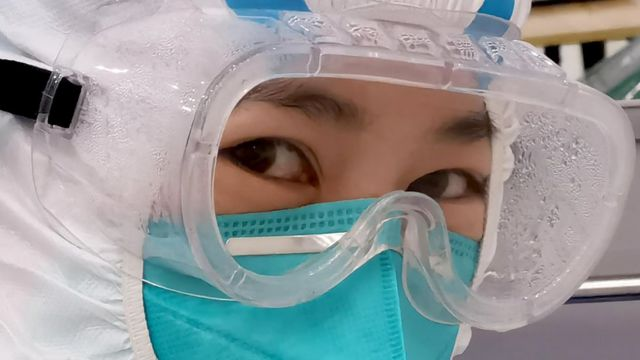 A nurse wearing protective gear at a hospital in Wuhan, China