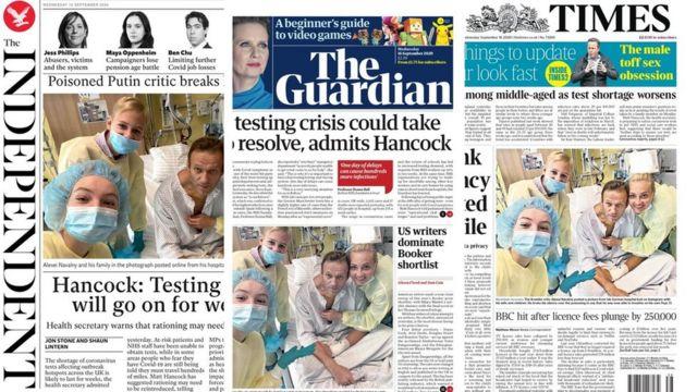 Первые полосы британских газет