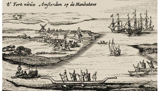Imagem da colônia holandesa de Nova Amsterdã em 1626