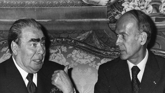 Валери Жискар д'Эстен и Леонид Брежнев на переговорах в замке Рамбуйе под Парижем 21 июня 1977 года