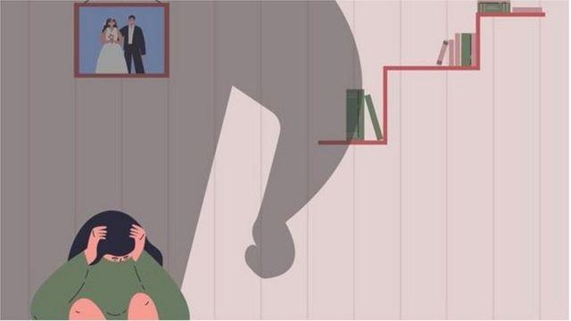 امرأة خائفة من زوجها
