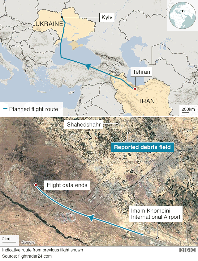 Map showing where the plane stopped sending data and where debris was found