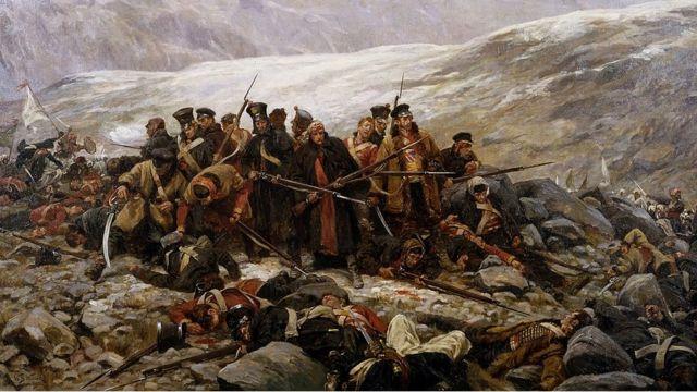 """Последний бой 44 полка"", картина Уильяма Барнса Уоллена."