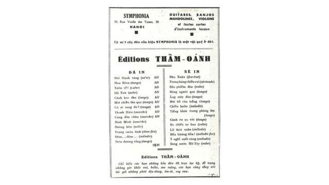 """Quảng cáo trên bìa sau của bài ca """"Trên đường vắng"""" (Hanoi: Éditions Thẩm Oánh, 1941)"""