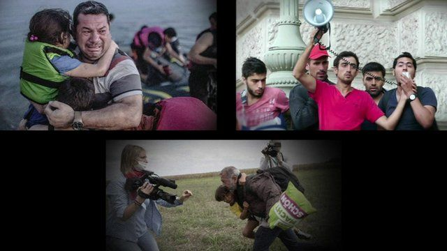 A composite image showing three famous images from the migrant crisis in Europe