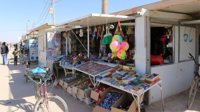 Negocio en el campo de refugiados de Zaatari.