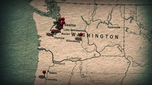 Mapa del estado de Washington, EE.UU.