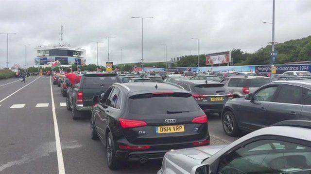 Queues at the Eurotunnel terminal
