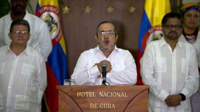 Rodrigo Londoño Echeverri, Timochenko, durante el discurso.